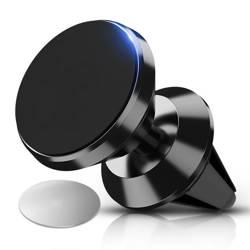 M048-Black | Aluminum magnetic phone holder | 2 plates included