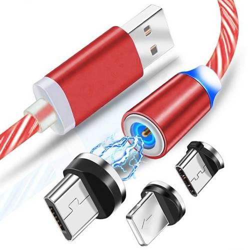 AM67   3w1 1M   Świecący kabel magnetyczny do ładowania telefonu z 3 końcówkami