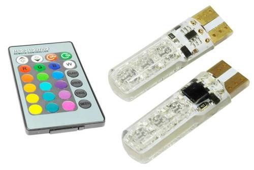 Blister LED W5W T10 RGB ze sterownikiem do zmiany koloru