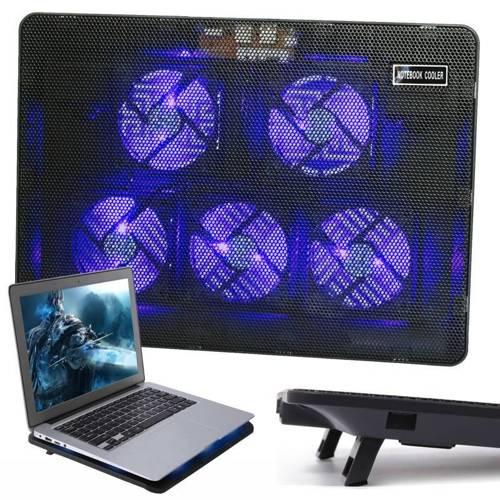"""V5   Podstawka chłodząca pod laptopa 12-17""""   5 wentylatorów   USB HUB   LED"""