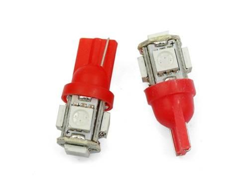 Żarówka samochodowa LED W5W T10 5 SMD 5050 CZERWONA